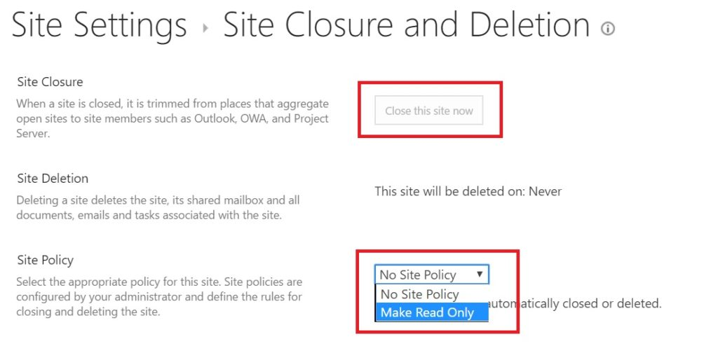 Select Site Policy