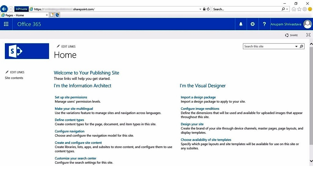 Creating publishing site at sharepoint online root cloud for Sharepoint requirements template