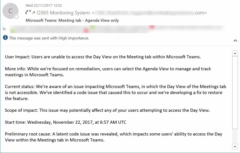 Automate Office 365 Health Status Monitoring Using