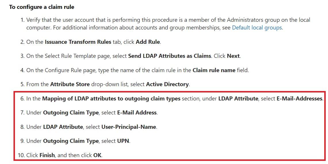 ADFS Claims Configuration