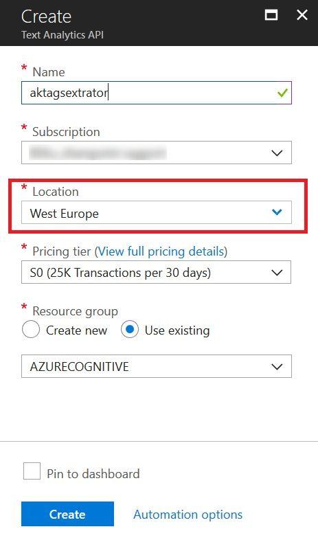 Create Azure Text Analytics Service