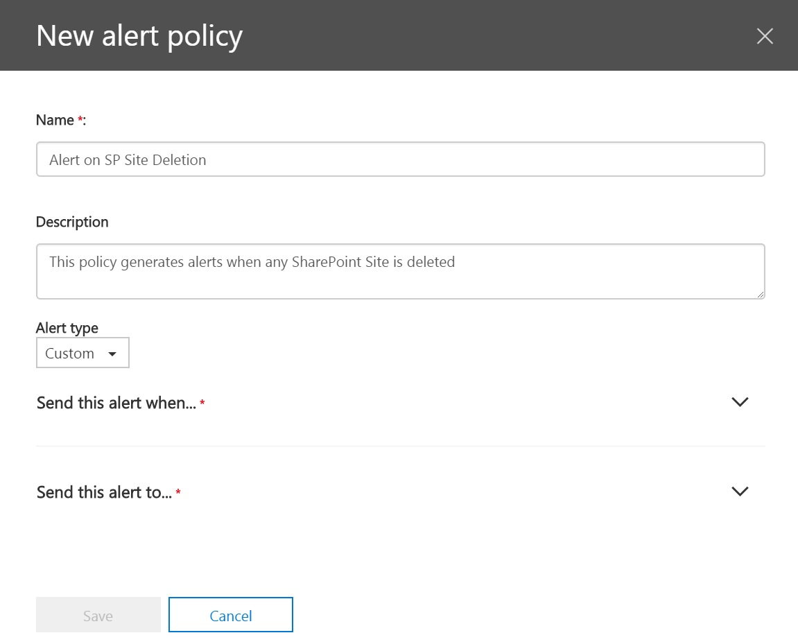 New Activity Alerts Policy