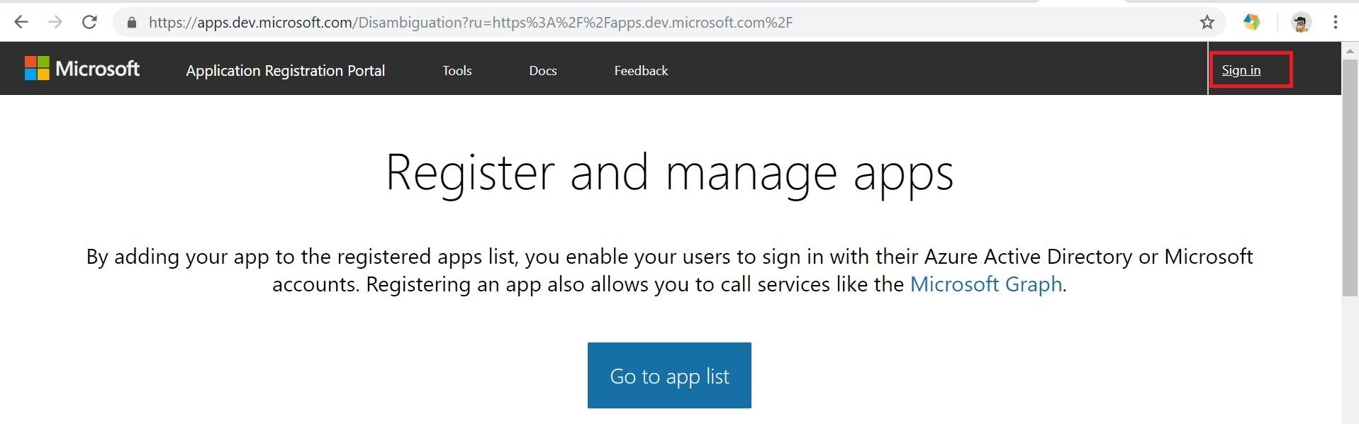 MS Apps Registration Portal