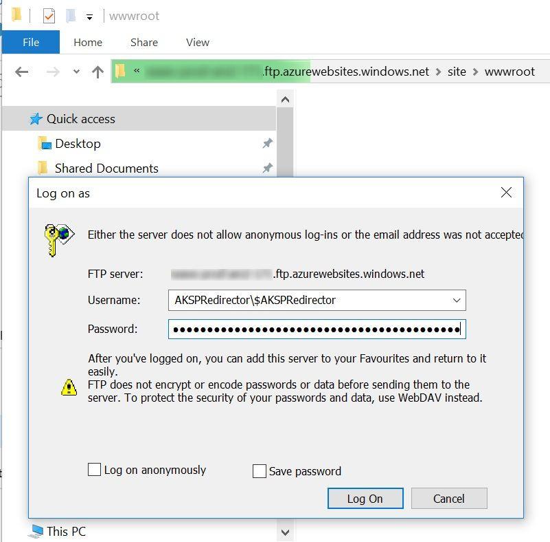 Access FTP Credentials