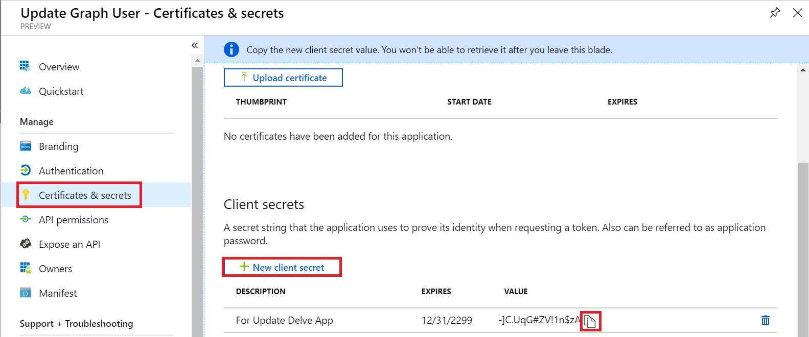 AzureAD App Get Secret