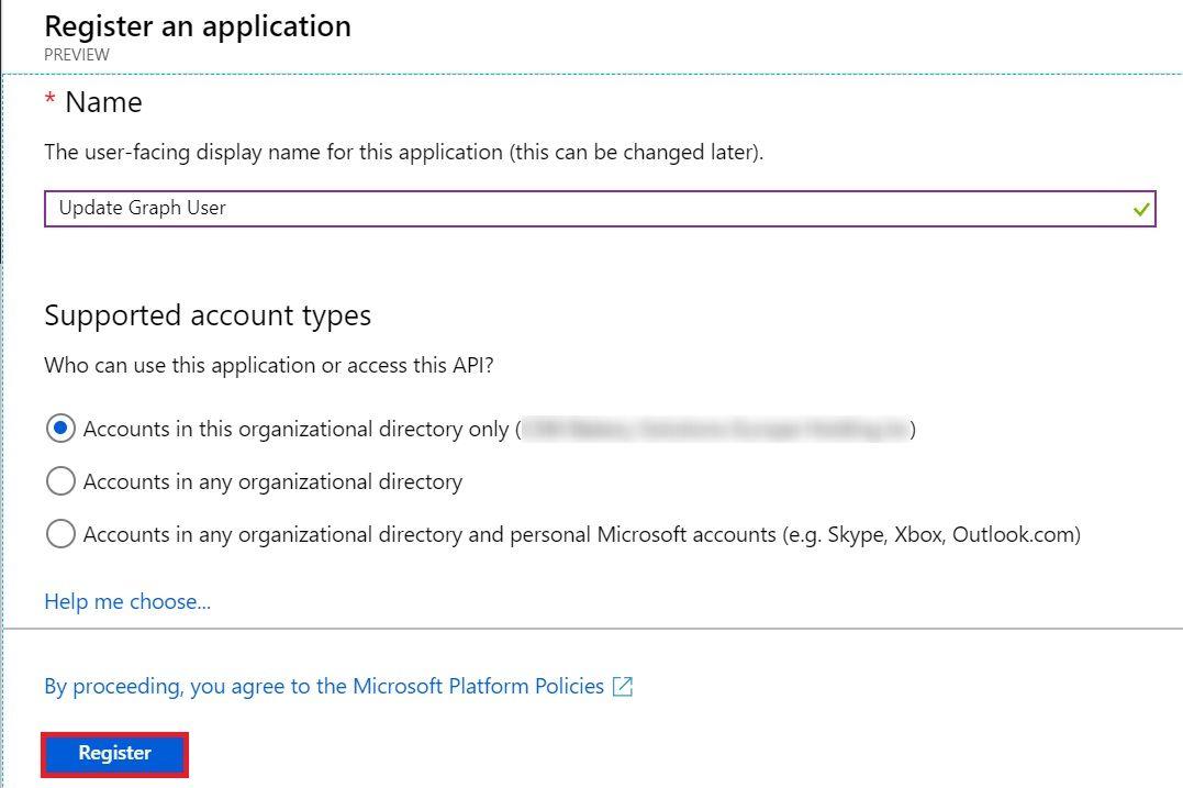 AzureAD App Reg Name